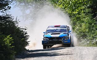 David Higgins rocketing through the forest to victory at the New England Forest Rally