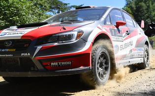 A close encounter with the 2018 Subaru WRX STI rally car of Travis Pastrana at the New England Forest Rally