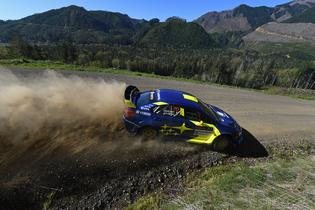 Oliver Solberg and veteran co-driver Denis Giraudet sliding their Subaru WRX STI at the 2019 DirtFish Olympus Rally. Photo credit: Lars Gange / Subaru Motorsports USA