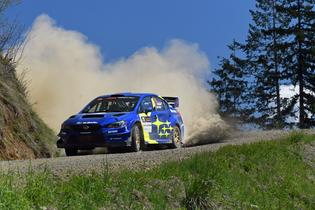 David Higgins and co-driver Craig Drew won 4 of the 12 stages at the 2019 DirtFish Olympus Rally. Photo credit: Lars Gange / Subaru Motorsports USA