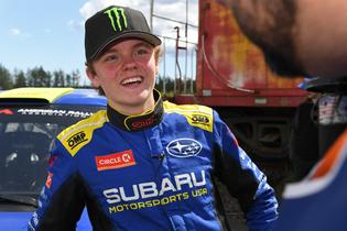 17-year-old rally phenom Oliver Solberg was all smiles as he earned his first American rally win, and first win with Subaru Motorsports USA at the 2019 DirtFish Olympus Rally. Photo credit: Lars Gange / Subaru Motorsports USA