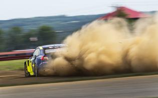 Scott Speed balances his WRX STI rallycross car on the limit in his first event – and first race win - with Subaru Motorsports USA.