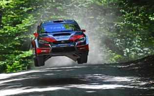 Travis Pastrana takes flight at the New England Forest Rally