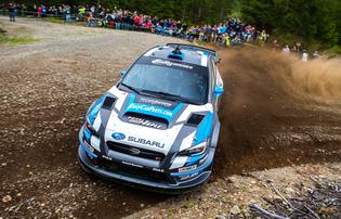 Higgins led from the first stage in his 2015 Subaru WRX STI rally car - 2015 Olympus Rally