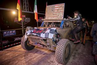 The Subaru Crosstrek Desert Racer crosses the finish line after a grueling Baja 500 class win.