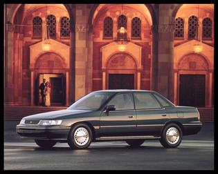 Subaru Legacy Production: 1990-Present Powered by a 2.2-liter BOXER engine with 130 hp. and 137 lb-ft. of torque   First model to relocate the spare tire from the engine compartment to the trunk   Available in standard, L or LS trim levels in either sedan or wagon   5-speed manual and