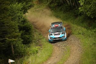 The #75 Subaru pushing hard at Olympus RallyPhoto credit: Matthew Stryker