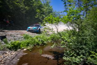 David Higgins drops a wheel on the inside edge of a corner at New England Forest RallyPhoto credit: Matthew Stryker