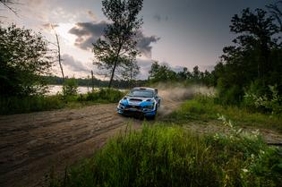 A dusty slide by Higgins and Drew in the lake stages of Ojibwe Forests RallyPhoto credit: Matthew Stryker