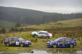 A special collection of historic Subaru rally cars gathered as part of the tribute for rally legend Colin McRae.