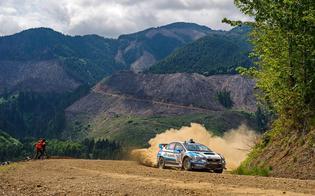 Subaru Rally Team USA #75 on the final turn of the Olympus Rally