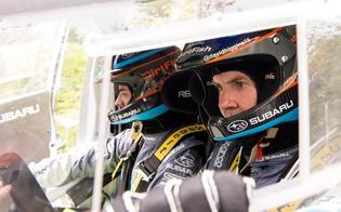 Higgins pictured with co-driver Craig Drew in their #75 2015 Subaru WRX STI