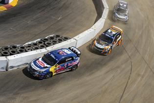 A trio of Subaru Rallycross machines at Red Bull Global Rallycross Los Angeles