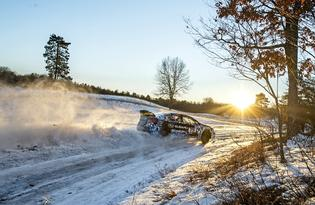 Defending Rally America Champion David Higgins tests his new 2015 WRX STI rally car on the frozen roads of Michigan.