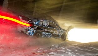 David Higgins and Subaru Rally Team USA test for the challenging night stages of Sno*Drift Rally.