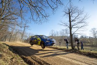 Oliver Solberg flew to a 2nd Overall finish at the 2019 Rally in the 100 Acre Wood. Photo credit: Ben Haulenbeek / Subaru Motorsports USA