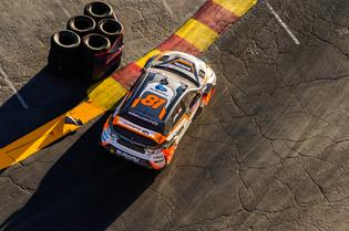 Bucky Lasek carves a perfect line through the apex during Red Bull GRC Las Vegas in his WRX STI.