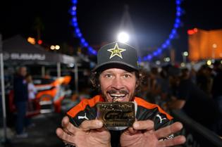 Bucky Lasek holds the fifth Red Bull GRC podium medal earned by Subaru Rally Team USA this season.