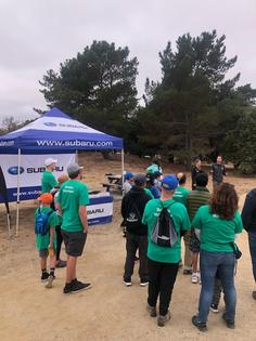 Volunteers from Subaru convene to remove thousands of pounds of trash and invasive species from Candlestick Point State Recreation Area on September 7, 2019.