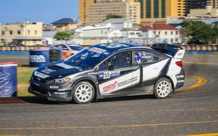 Chris Atkinson attacks a turn during his rallycross debut at GRC Atlantic City