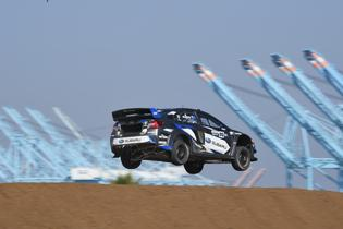 Chris Atkinson flies high in his Subaru at GRC.