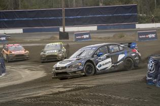Chris Atkinson leads in his Subaru STI at GRC Seattle