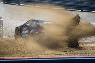 Chris Atkinson slides his Subaru STI at GRC.