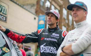 Travis Pastrana and David Higgins at the Ojibwe Forests Rally