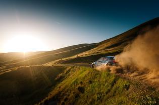 David Higgins and Craig Drew blast off into the sunset at the Oregon Trail Rally. Credit: Alex Wong / Subaru Rally Team USA