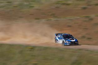 Subaru driver Chris Atkinson at maximum attack at the Oregon Trail Rally. Credit: Louis Yio / Subaru Rally Team USA