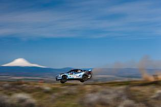 David Higgins and Craig Drew on full attack at Olympus rally