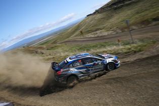 Subaru driver Chris Atkinson slides his 2018 Subaru WRX STI at the Oregon Trail Rally. Credit: Mathew Stryker / Subaru Rally Team USA