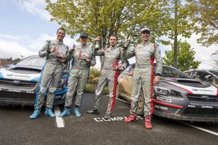 Craig Drew David Higgins, Robbie Durant and Travis Pastrana at the Olympus Rally finish.
