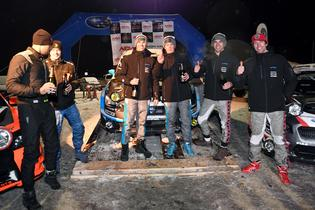 Craig Drew and David Higgins are joined on the podium by Robbie Durant and Travis Pastrana at Rallye Perce Neige 2017