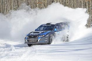 Subaru Rally Team Driver David Higgins wins the 2014 SnoDrift Rally