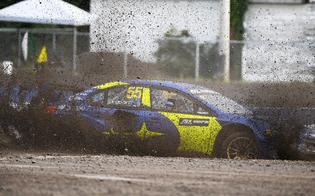 Thunderstorms on Saturday afternoon brought slick, muddy conditions for the second qualifying session, causing visibility issues for drivers as mud caked the windshields.