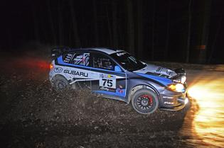 David Higgins and Craig Drew Night Action 100 Acre Wood Rally 2014