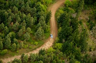 David Higgins carves through a forest rally stage in his 2015 WRX STI at Oregon Trail Rally.