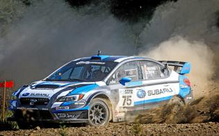 David Higgins and codriver Craig Drew push their Subaru WRX STI to victory at STPR