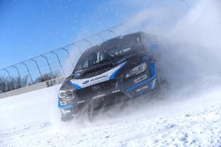 David Higgins tests his WRX STI prior to Rally Perce_Neige