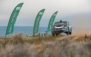 David Higgins and Craig Drew get airborne at the Oregon Trail Rally