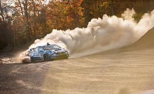David Higgins and his Subaru STI in full attack at the Lake Superior Performance Rally