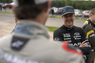 David Higgins chats with Travis Pastrana during the Ojibwe Forests Rally