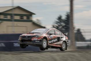 David Higgins launches his DirtFish Subaru STI at GRC Seattle