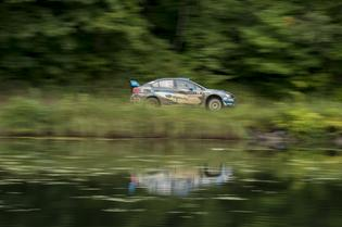 David Higgins propels his Subaru WRX STI down the scenic Ojibwe Forest Rally stages