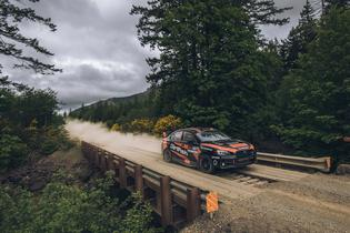 The DirtFish Motorsports Subaru WRX STI 4WD Limited car at the 2018 Olympus Rally. (Driver: Sam Albert/Co-driver: Michelle Miller)