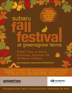 THE SUBARU FALL FESTIVAL AT GREENSGROW FARMS RETURNS TO PHILADELPHIA