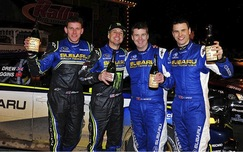 Higgins and Mirra with co-drivers Clarke and Drew at the 100 Acre Wood Rally