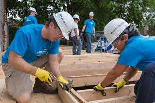 Subaru of America volunteers build a house frame for a Camden County Habitat for Humanity home on June 16, 2017.