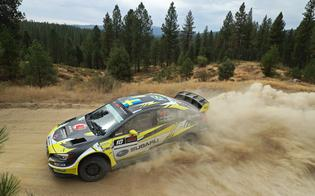 Patrik Sandell slides his 2018 Subaru WRX STI rally car on the slippery Idaho Rally roadsPhoto Credit: Matthew Stryker / Subaru Rally Team USA